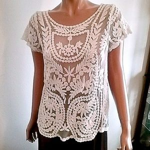 Tops - Ivory Lace embroidered Top Sz 12